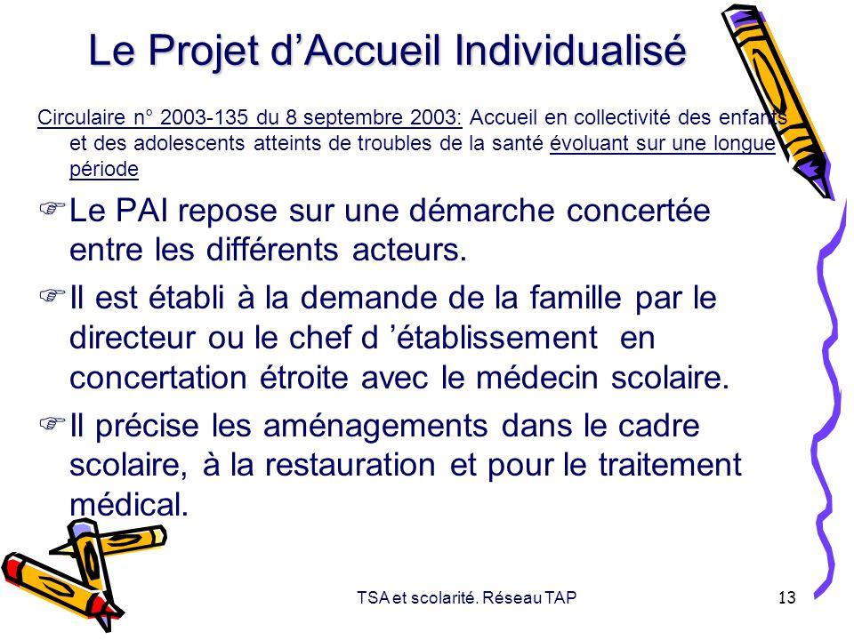 TSA et scolarité. Réseau TAP 13 Le Projet dAccueil Individualisé Circulaire n° 2003-135 du 8 septembre 2003: Accueil en collectivité des enfants et de