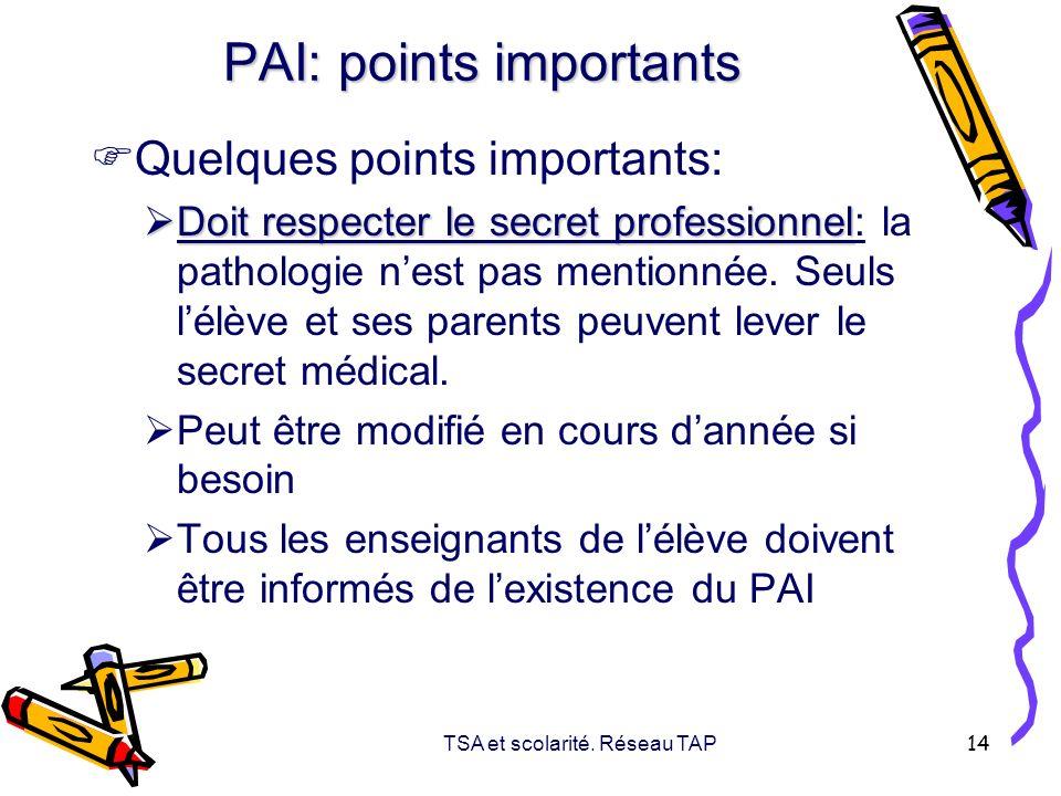TSA et scolarité. Réseau TAP 14 PAI: points importants Quelques points importants: Doit respecter le secret professionnel Doit respecter le secret pro