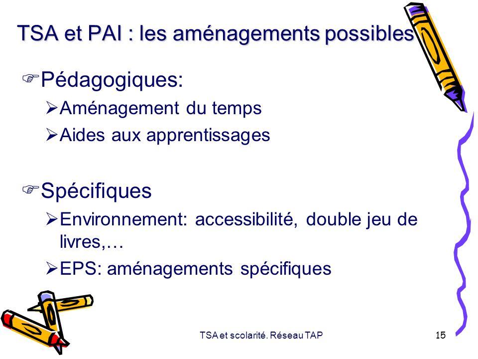 TSA et scolarité. Réseau TAP 15 TSA et PAI : les aménagements possibles Pédagogiques: Aménagement du temps Aides aux apprentissages Spécifiques Enviro