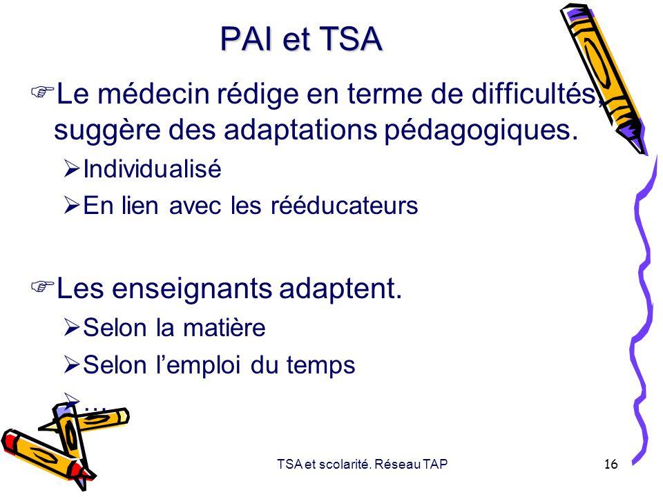 TSA et scolarité. Réseau TAP 16 PAI et TSA Le médecin rédige en terme de difficultés, suggère des adaptations pédagogiques. Individualisé En lien avec