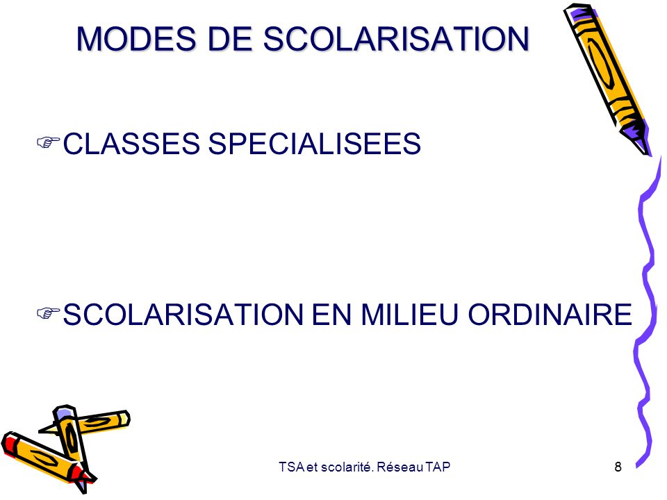 TSA et scolarité. Réseau TAP 8 MODES DE SCOLARISATION CLASSES SPECIALISEES SCOLARISATION EN MILIEU ORDINAIRE
