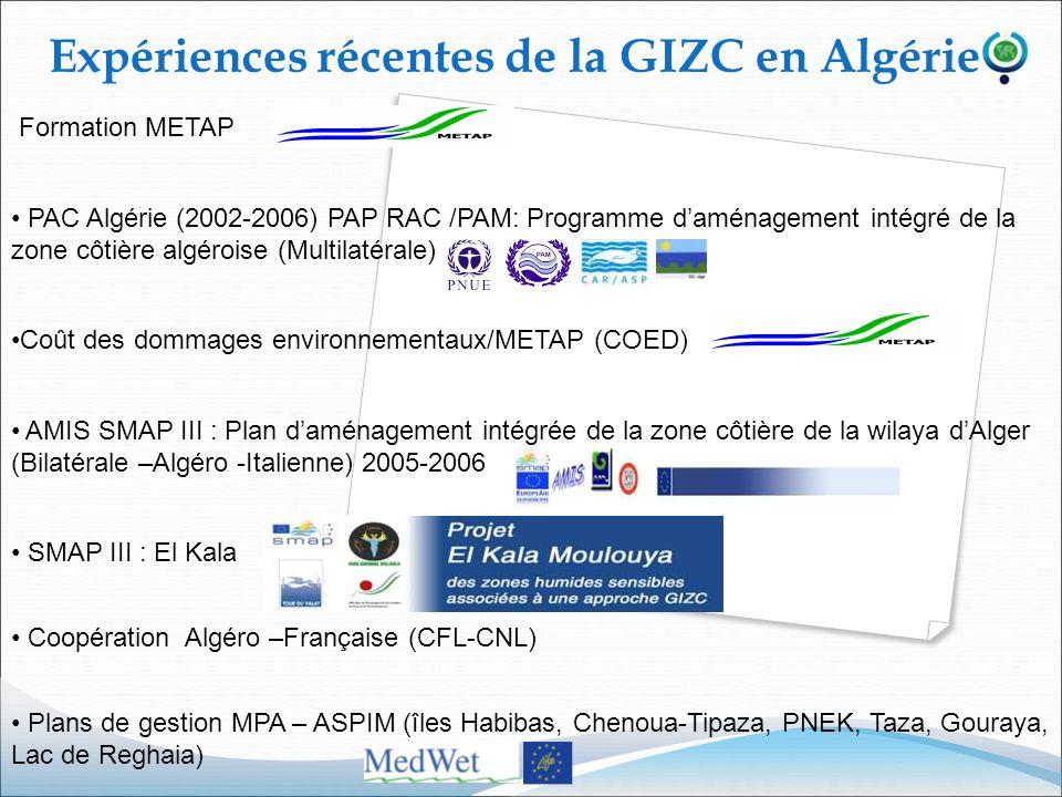 Formation METAP PAC Algérie (2002-2006) PAP RAC /PAM: Programme daménagement intégré de la zone côtière algéroise (Multilatérale) Coût des dommages en
