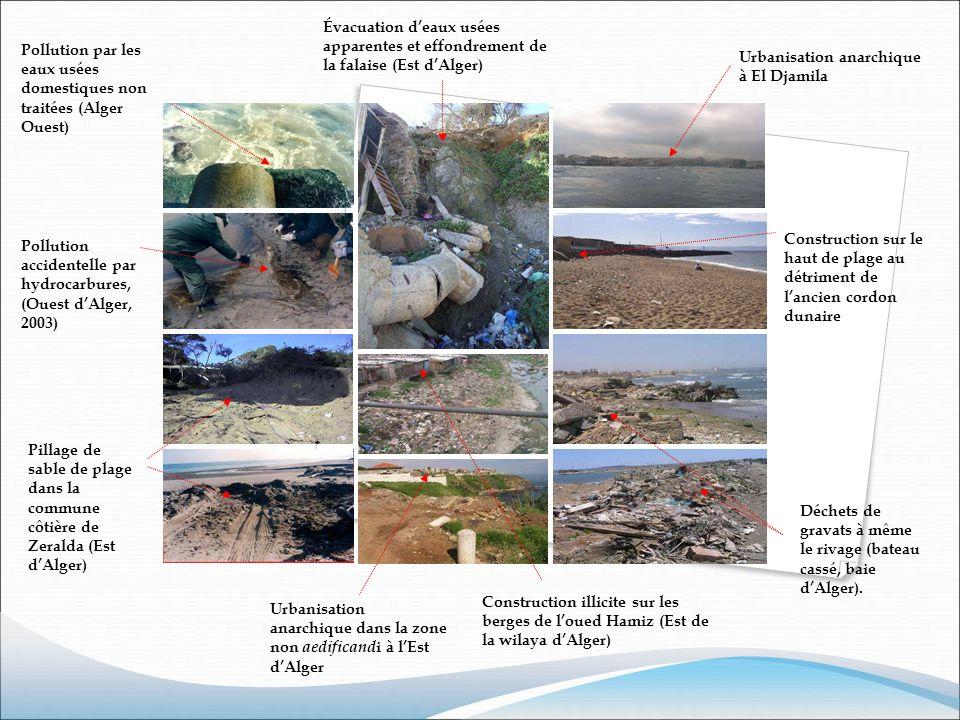 Déchets de gravats à même le rivage (bateau cassé, baie dAlger). Pollution par les eaux usées domestiques non traitées (Alger Ouest) Pollution acciden