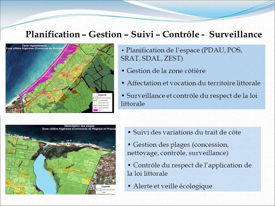 Planification de lespace (PDAU, POS, SRAT, SDAL, ZEST) Gestion de la zone côtière Affectation et vocation du territoire littorale Surveillance et cont