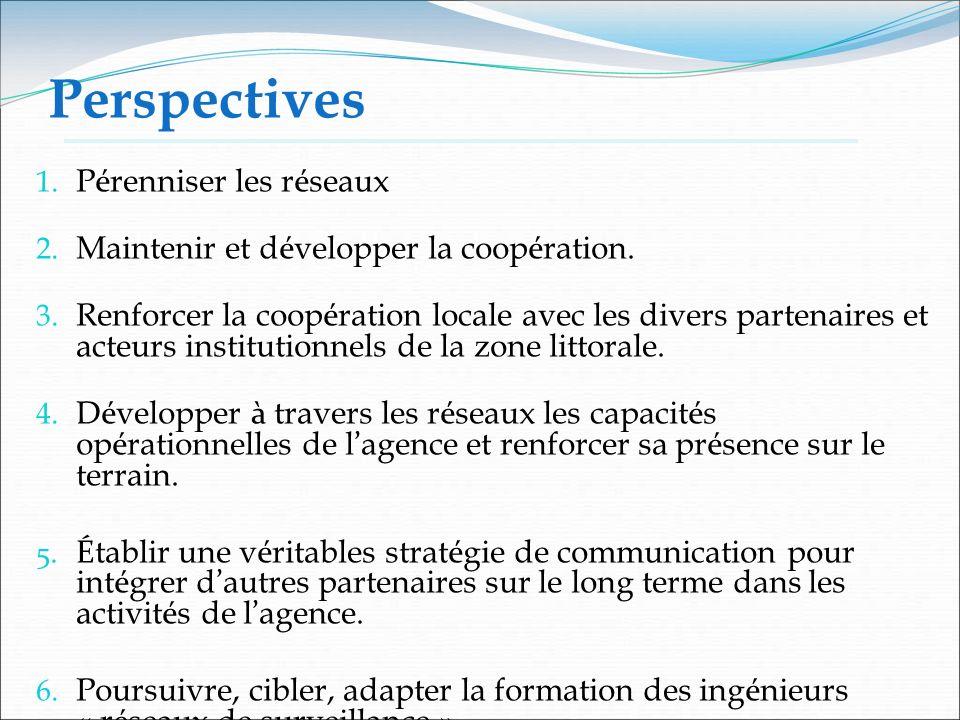 Perspectives 1. P é renniser les r é seaux 2. Maintenir et d é velopper la coop é ration. 3. Renforcer la coop é ration locale avec les divers partena