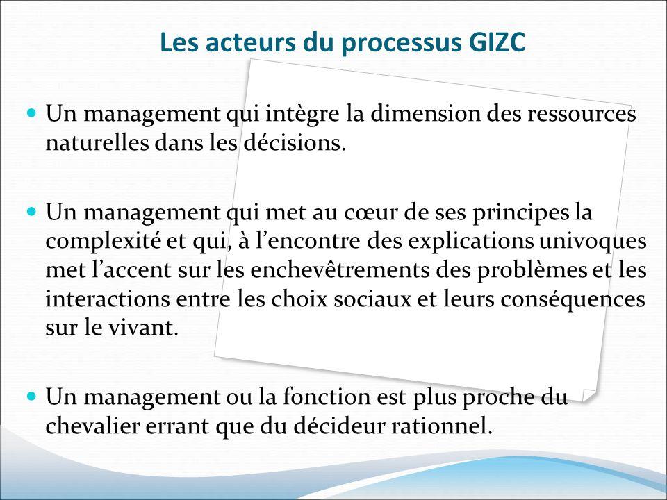Les acteurs du processus GIZC Un management qui intègre la dimension des ressources naturelles dans les décisions. Un management qui met au cœur de se