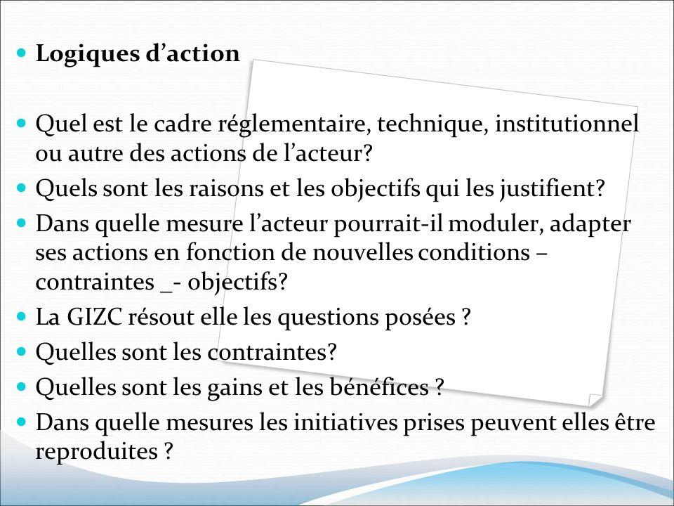 Logiques daction Quel est le cadre réglementaire, technique, institutionnel ou autre des actions de lacteur? Quels sont les raisons et les objectifs q