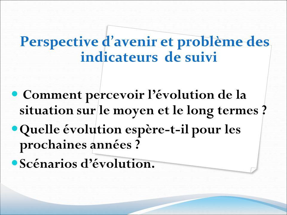 Perspective davenir et problème des indicateurs de suivi Comment percevoir lévolution de la situation sur le moyen et le long termes ? Quelle évolutio
