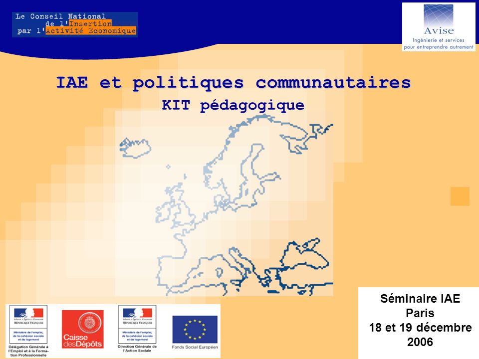 Agenda européen (à jour au 01/05/07) Printemps / été 2007 : Nouvelle communication sur linclusion sociale active (reportée) Nouvelle communication sur linclusion sociale active Communication sur la notion de «flexisécurité » (juin) Communication sur la notion de «flexisécurité » (juin) Consultation de la Commission sur la réalité sociale européenne: réaliser un «inventaire» (en cours) Consultation de la Commission sur la réalité sociale européenne: réaliser un «inventaire» (en cours) Consultation sur le projet de règlement dexemption des aides publiques aux entreprises (avril – juin 2007) Consultation sur une action à mener au niveau communautaire pour promouvoir linclusion active des personnes les plus éloignées du marché Consultation sur une action à mener au niveau communautaire pour promouvoir linclusion active des personnes les plus éloignées du marché Courant 2007 / 2008 : Révision de lAgenda Social 2005 – 2010 Adoption dun nouveau règlement de minimis (subventions) Adoption dun nouveau règlement de minimis (subventions) Prolongation des règlements actuels dexemption des aides à lemploi et aux PME jusquau 30/06/2008 Adoption de principes communs en matière dinclusion active par le Conseil Européen (décembre 2007) Adoption de propositions concrètes sur les objectifs et la mise en œuvre de la flexisécurité (décembre 2007) Préparation dune proposition pour une année Européenne 2010 consacrée à la lutte contre la pauvreté et lexclusion sociale Rapport sur les tendances en matière de modernisation, la jurisprudence et les nouveautés observées concernant les SSIG dans les pays de lUE (fin 2007)