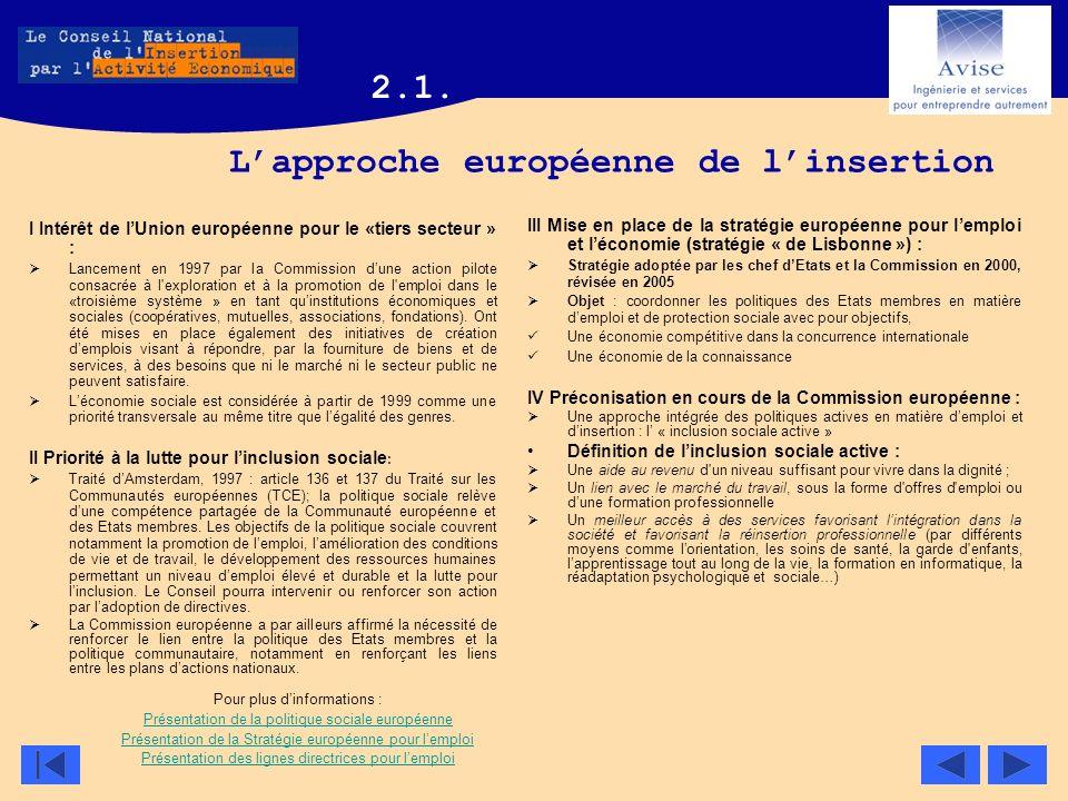 Lapproche européenne de linsertion I Intérêt de lUnion européenne pour le «tiers secteur » : Lancement en 1997 par la Commission dune action pilote co