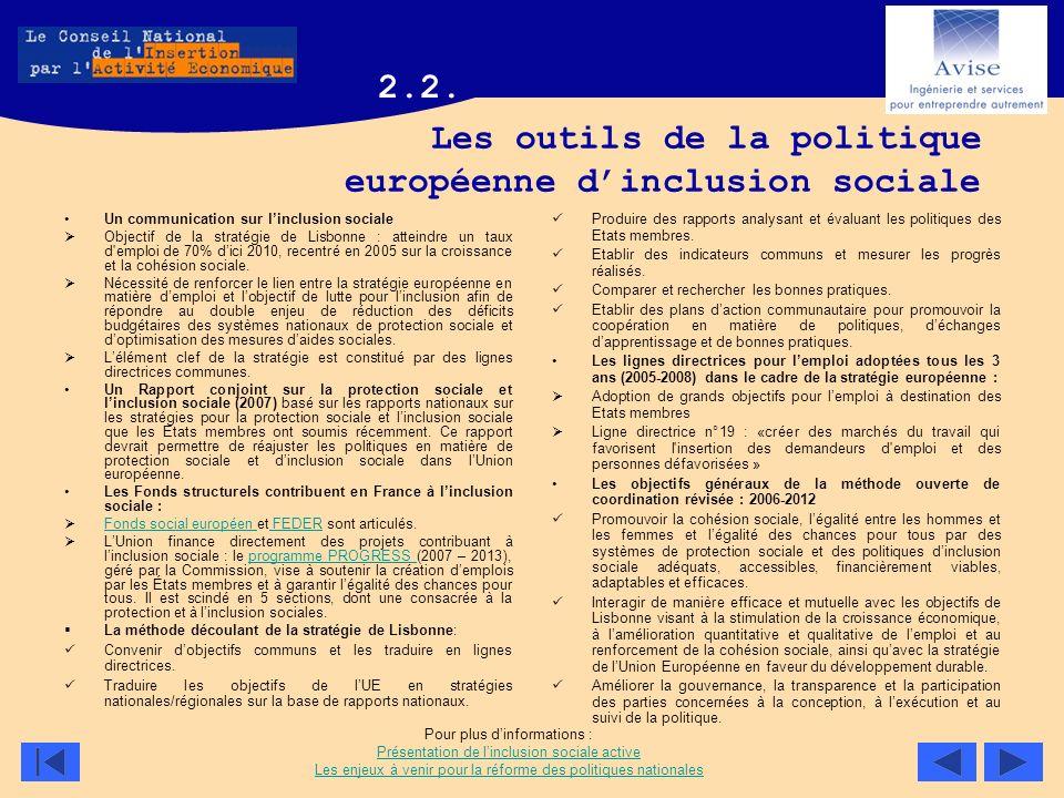 Les outils de la politique européenne dinclusion sociale Un communication sur linclusion sociale Objectif de la stratégie de Lisbonne : atteindre un t