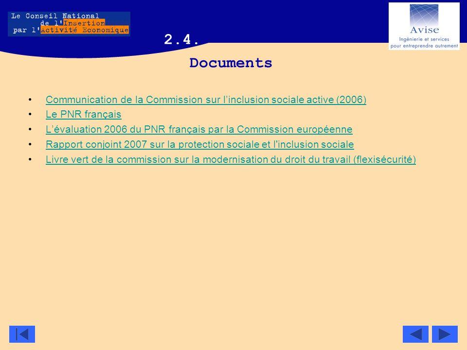 Documents Communication de la Commission sur linclusion sociale active (2006) Le PNR français Lévaluation 2006 du PNR français par la Commission europ