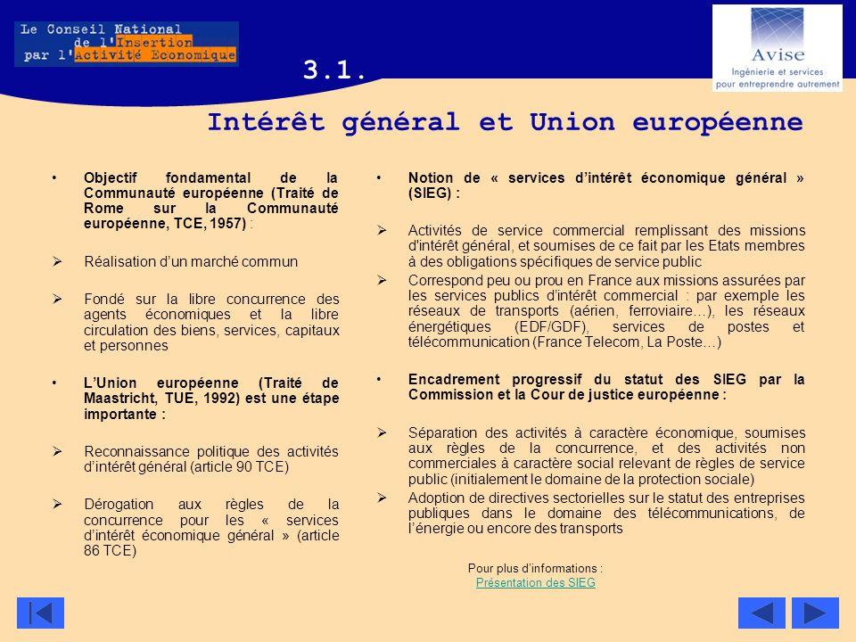 Intérêt général et Union européenne Objectif fondamental de la Communauté européenne (Traité de Rome sur la Communauté européenne, TCE, 1957) : Réalis