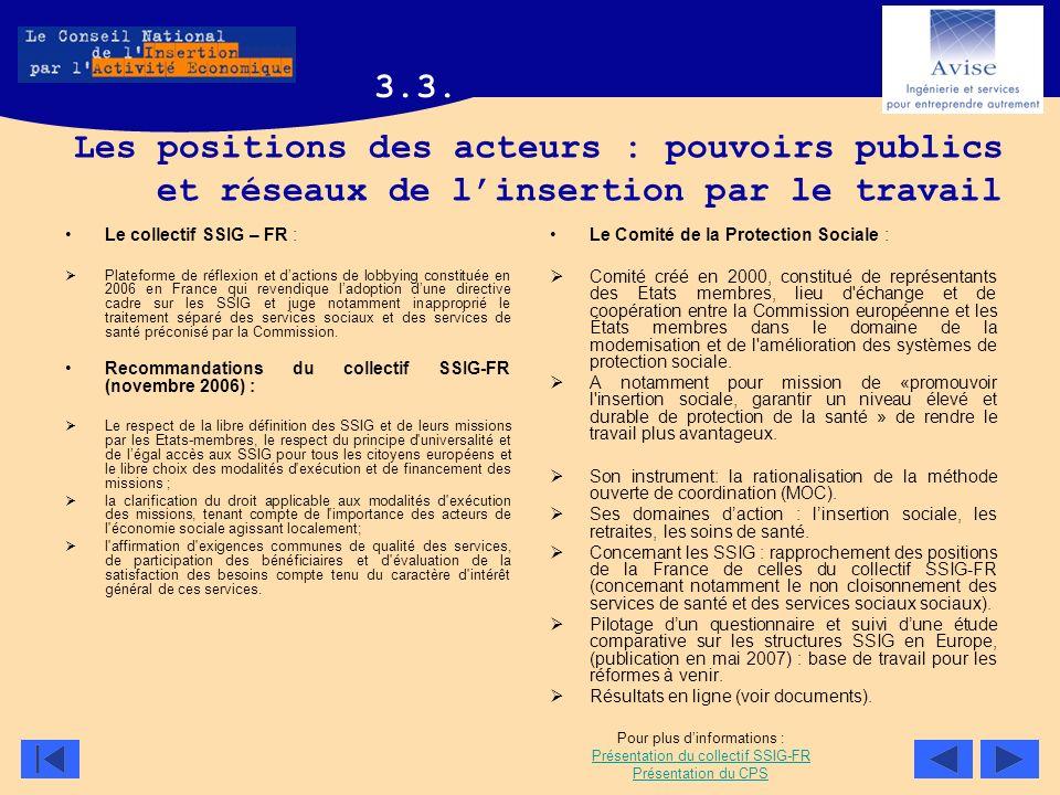 Les positions des acteurs : pouvoirs publics et réseaux de linsertion par le travail Le collectif SSIG – FR : Plateforme de réflexion et dactions de l