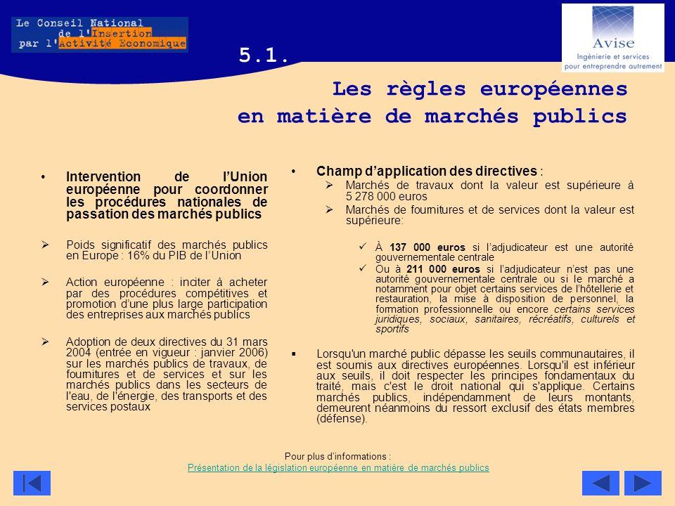 Les règles européennes en matière de marchés publics Intervention de lUnion européenne pour coordonner les procédures nationales de passation des marc