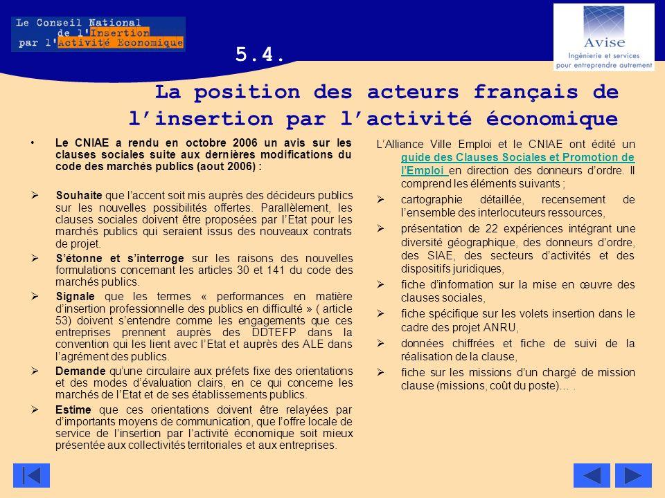 La position des acteurs français de linsertion par lactivité économique Le CNIAE a rendu en octobre 2006 un avis sur les clauses sociales suite aux de
