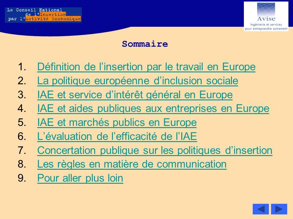 Sommaire 1.Définition de linsertion par le travail en EuropeDéfinition de linsertion par le travail en Europe 2.La politique européenne dinclusion soc