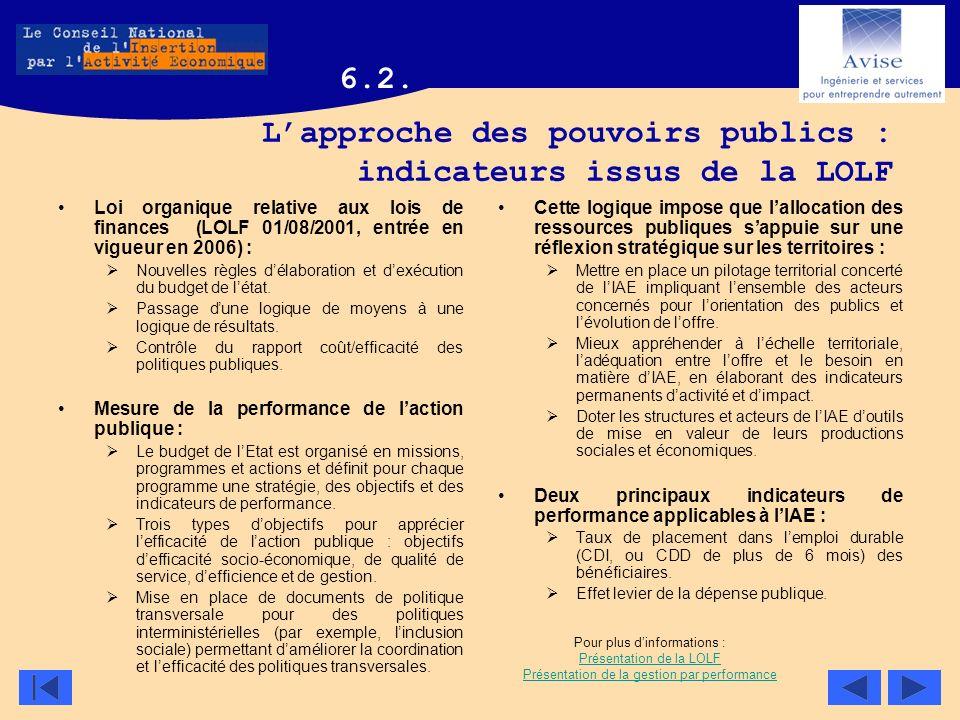 Lapproche des pouvoirs publics : indicateurs issus de la LOLF Loi organique relative aux lois de finances (LOLF 01/08/2001, entrée en vigueur en 2006)