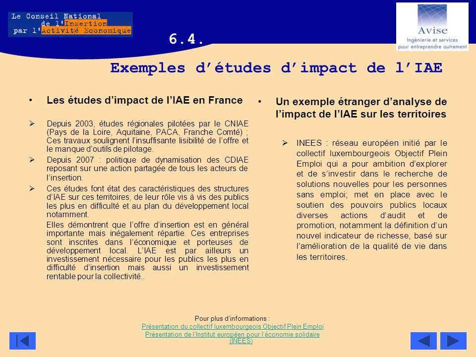 Exemples détudes dimpact de lIAE Les études dimpact de lIAE en France Depuis 2003, études régionales pilotées par le CNIAE (Pays de la Loire, Aquitain