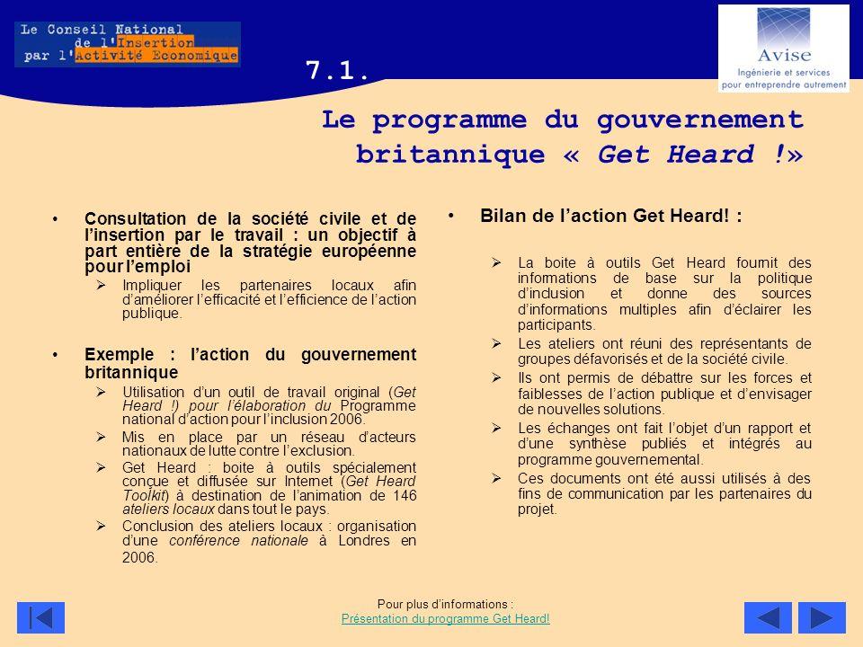 Le programme du gouvernement britannique « Get Heard !» Consultation de la société civile et de linsertion par le travail : un objectif à part entière