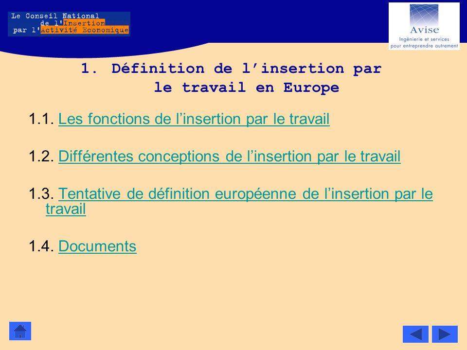 1.Définition de linsertion par le travail en Europe 1.1. Les fonctions de linsertion par le travailLes fonctions de linsertion par le travail 1.2. Dif