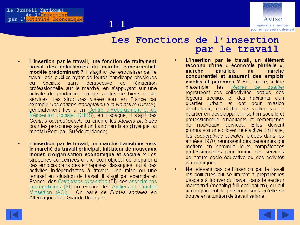 Les Fonctions de linsertion par le travail Linsertion par le travail, une fonction de traitement social des défaillances du marché concurrentiel, modè