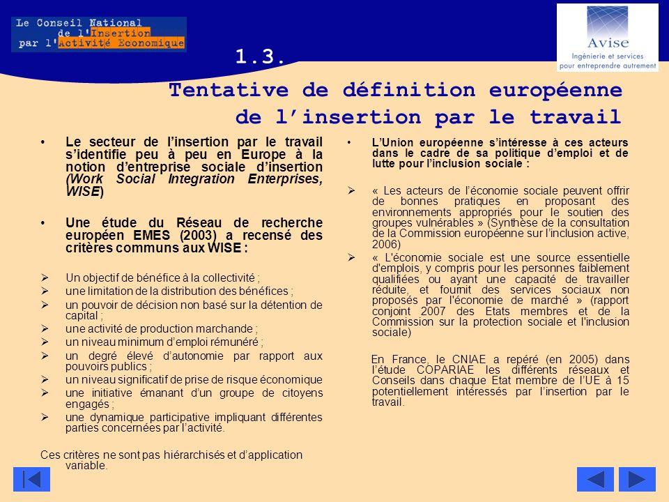 Tentative de définition européenne de linsertion par le travail Le secteur de linsertion par le travail sidentifie peu à peu en Europe à la notion den