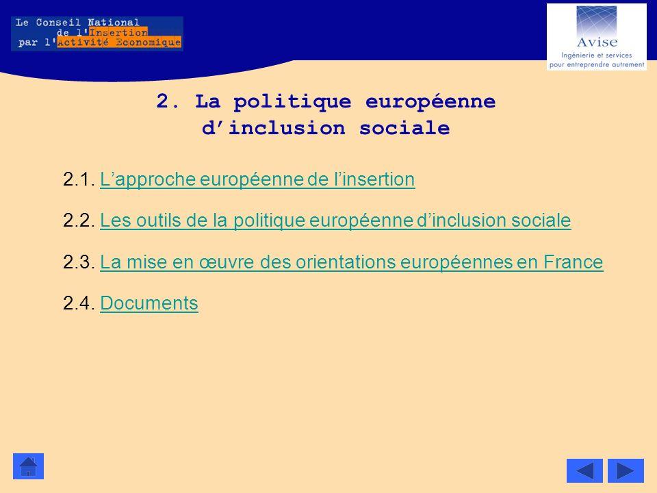 2. La politique européenne dinclusion sociale 2.1. Lapproche européenne de linsertionLapproche européenne de linsertion 2.2. Les outils de la politiqu