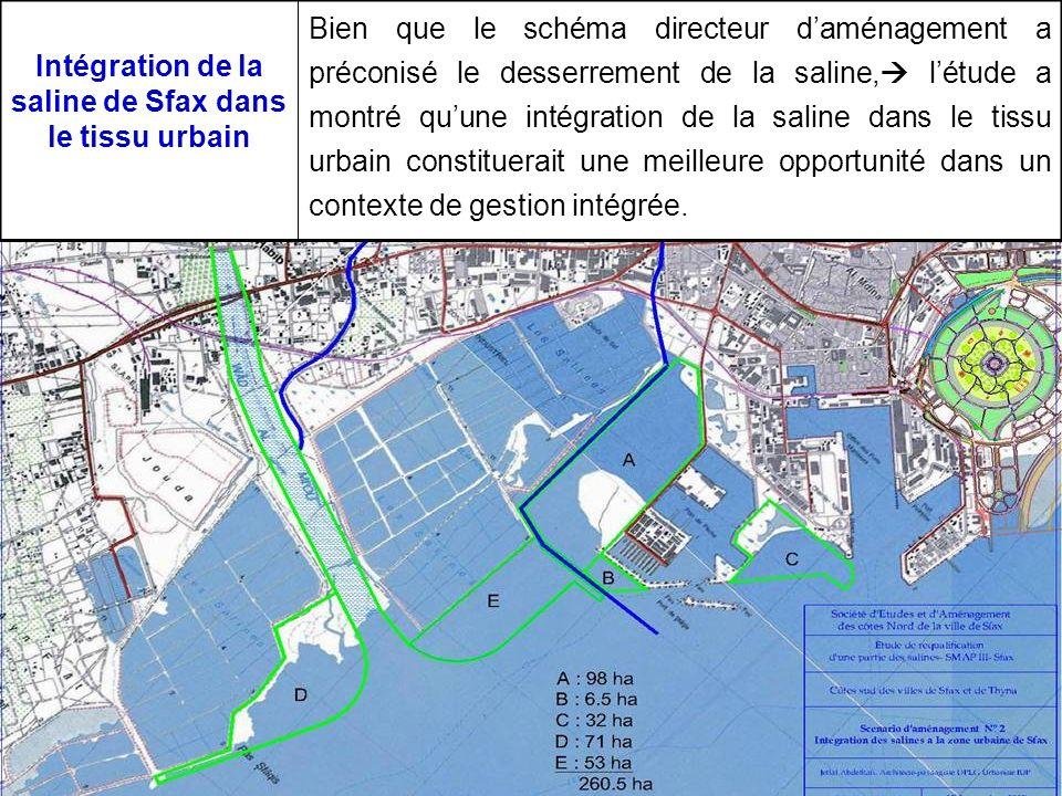 Intégration de la saline de Sfax dans le tissu urbain Bien que le schéma directeur daménagement a préconisé le desserrement de la saline, létude a mon