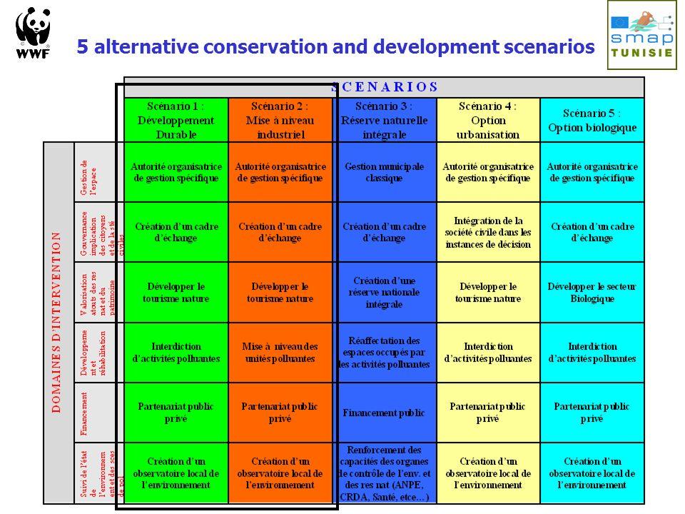 5 alternative conservation and development scenarios
