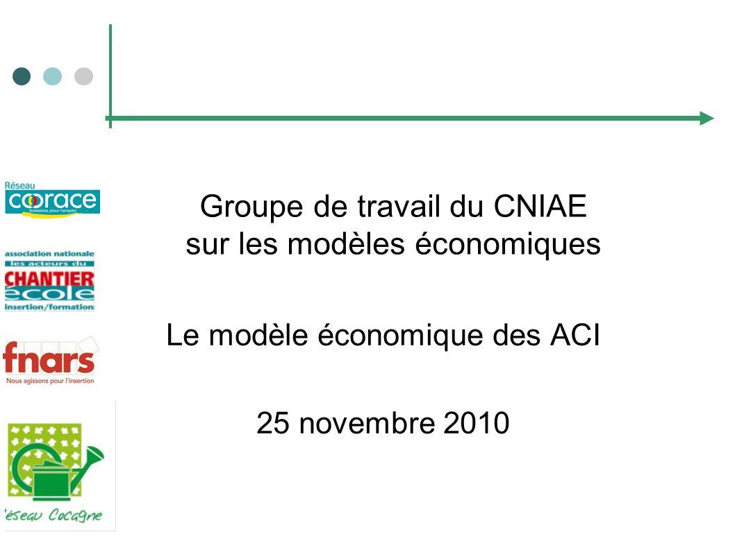 Groupe de travail du CNIAE sur les modèles économiques Le modèle économique des ACI 25 novembre 2010