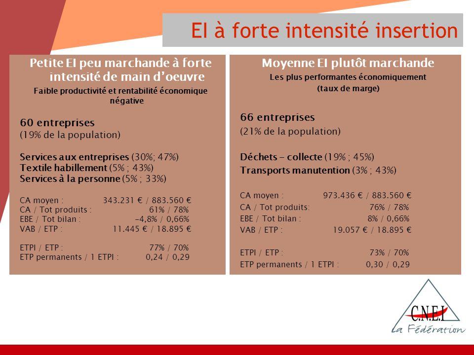 EI à forte intensité insertion Petite EI peu marchande à forte intensité de main doeuvre Faible productivité et rentabilité économique négative 60 entreprises (19% de la population) Services aux entreprises (30%; 47%) Textile habillement (5% ; 43%) Services à la personne (5% ; 33%) CA moyen : 343.231 / 883.560 CA / Tot produits :61% / 78% EBE / Tot bilan : -4,8% / 0,66% VAB / ETP : 11.445 / 18.895 ETPI / ETP :77% / 70% ETP permanents / 1 ETPI : 0,24 / 0,29 Moyenne EI plutôt marchande Les plus performantes économiquement (taux de marge) 66 entreprises (21% de la population) Déchets - collecte (19% ; 45%) Transports manutention (3% ; 43%) CA moyen : 973.436 / 883.560 CA / Tot produits:76% / 78% EBE / Tot bilan : 8% / 0,66% VAB / ETP : 19.057 / 18.895 ETPI / ETP :73% / 70% ETP permanents / 1 ETPI : 0,30 / 0,29
