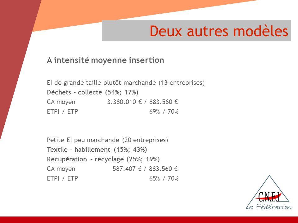 Deux autres modèles A intensité moyenne insertion EI de grande taille plutôt marchande (13 entreprises) Déchets – collecte (54%; 17%) CA moyen 3.380.0