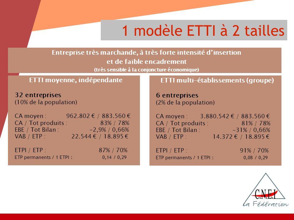 1 modèle ETTI à 2 tailles ETTI moyenne, indépendante 32 entreprises (10% de la population) CA moyen : 962.802 / 883.560 CA / Tot produits : 83% / 78% EBE / Tot Bilan : -2,9% / 0,66% VAB / ETP : 22.544 / 18.895 ETPI / ETP : 87% / 70% ETP permanents / 1 ETPI : 0,14 / 0,29 Entreprise très marchande, à très forte intensité dinsertion et de faible encadrement (très sensible à la conjoncture économique) ETTI multi-établissements (groupe) 6 entreprises (2% de la population) CA moyen : 3.880.542 / 883.560 CA / Tot produits : 81% / 78% EBE / Tot Bilan : -31% / 0,66% VAB / ETP : 14.372 / 18.895 ETPI / ETP : 91% / 70% ETP permanents / 1 ETPI : 0,08 / 0,29