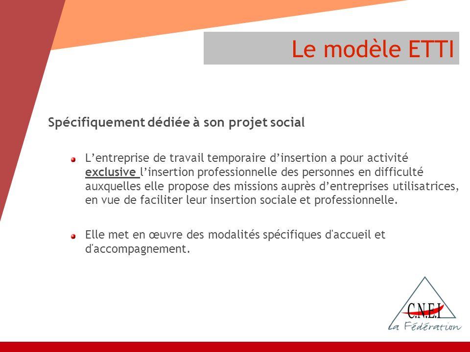 Le modèle ETTI Spécifiquement dédiée à son projet social Lentreprise de travail temporaire dinsertion a pour activité exclusive linsertion professionn
