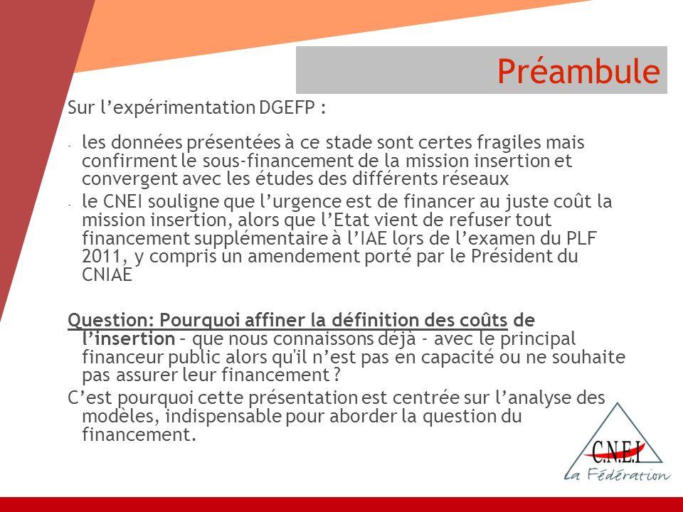Préambule Sur lexpérimentation DGEFP : - les données présentées à ce stade sont certes fragiles mais confirment le sous-financement de la mission inse