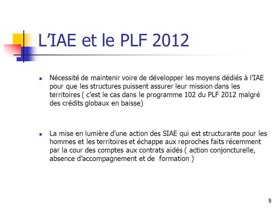 9 LIAE et le PLF 2012 Nécessité de maintenir voire de développer les moyens dédiés à lIAE pour que les structures puissent assurer leur mission dans l
