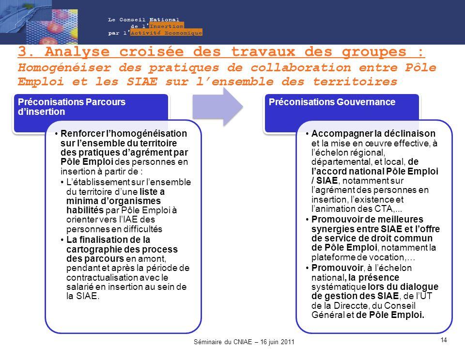 3. Analyse croisée des travaux des groupes : Homogénéiser des pratiques de collaboration entre Pôle Emploi et les SIAE sur lensemble des territoires P