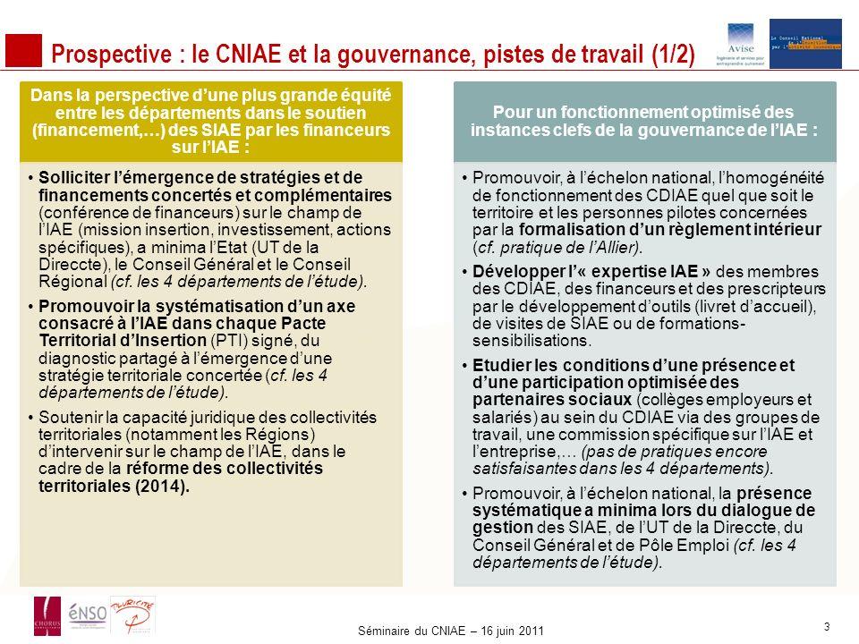 Prospective : le CNIAE et la gouvernance, pistes de travail (1/2) Dans la perspective dune plus grande équité entre les départements dans le soutien (