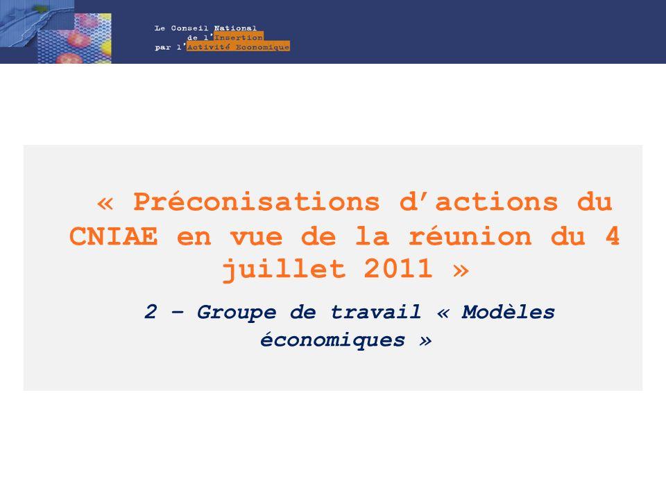 « Préconisations dactions du CNIAE en vue de la réunion du 4 juillet 2011 » 2 – Groupe de travail « Modèles économiques »