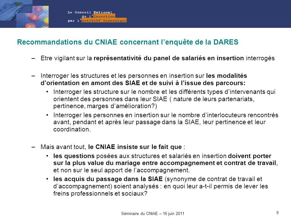 Recommandations du CNIAE concernant lenquête de la DARES –Etre vigilant sur la représentativité du panel de salariés en insertion interrogés –Interrog