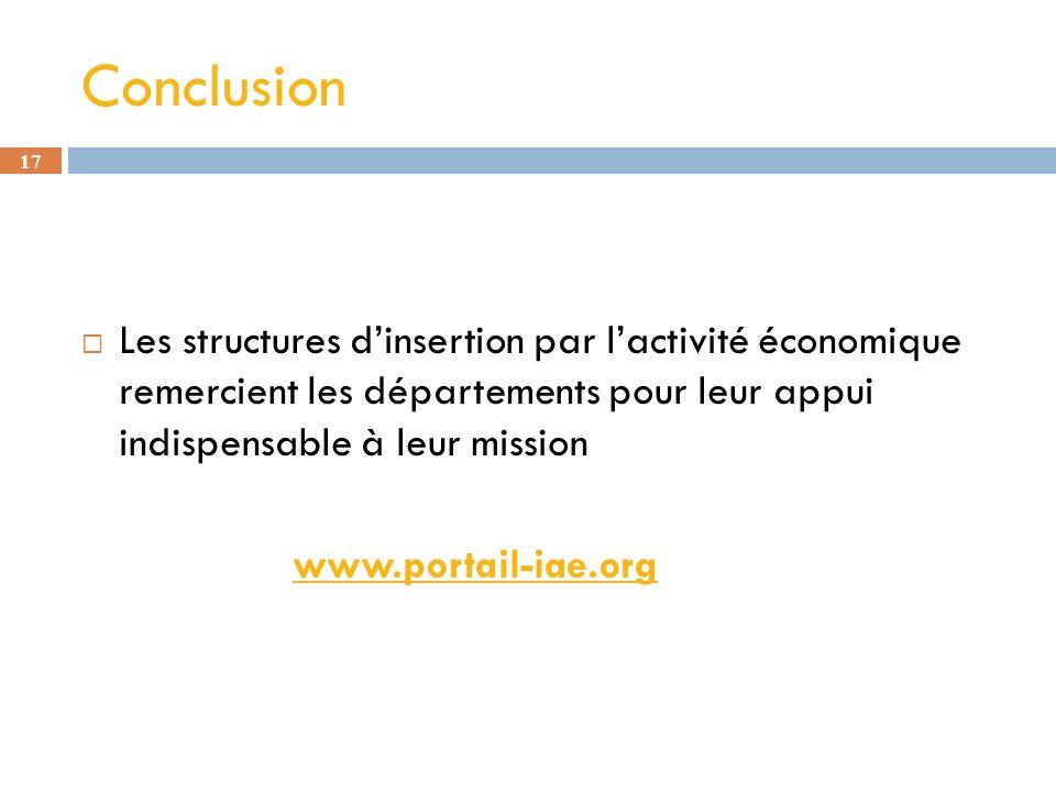 17 Conclusion Les structures dinsertion par lactivité économique remercient les départements pour leur appui indispensable à leur mission www.portailwww.portail-iae.org