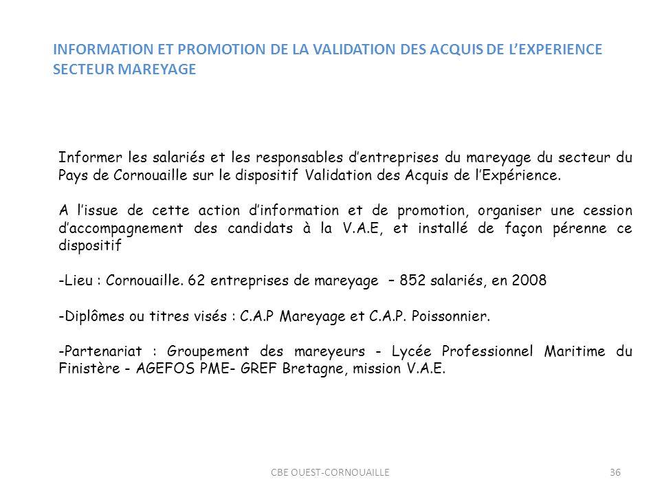 CBE OUEST-CORNOUAILLE36 INFORMATION ET PROMOTION DE LA VALIDATION DES ACQUIS DE LEXPERIENCE SECTEUR MAREYAGE Informer les salariés et les responsables