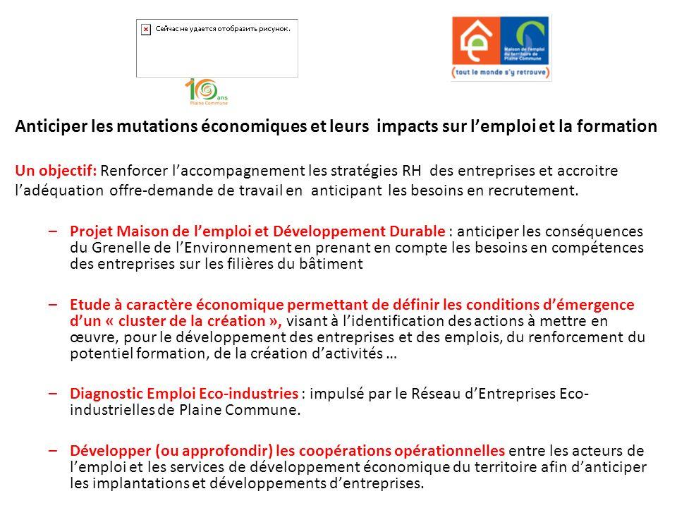 Anticiper les mutations économiques et leurs impacts sur lemploi et la formation Un objectif: Renforcer laccompagnement les stratégies RH des entrepri