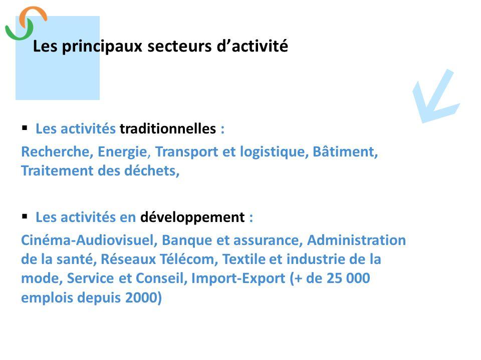 Les activités traditionnelles : Recherche, Energie, Transport et logistique, Bâtiment, Traitement des déchets, Les activités en développement : Cinéma