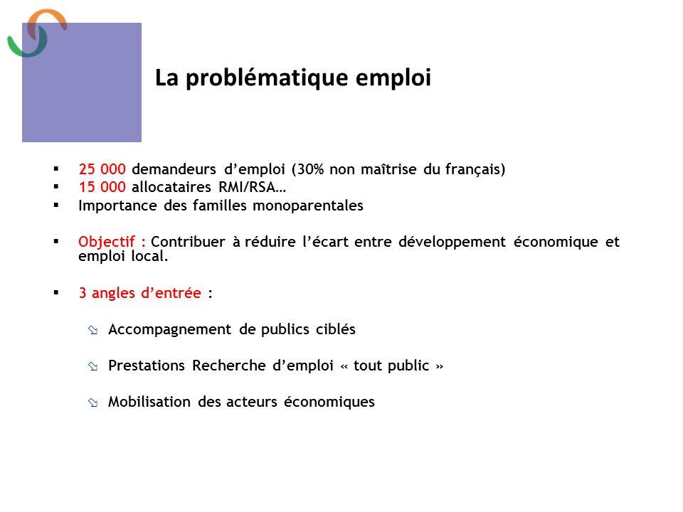 Mission et actions 25 000 demandeurs demploi (30% non maîtrise du français) 15 000 allocataires RMI/RSA… Importance des familles monoparentales Object