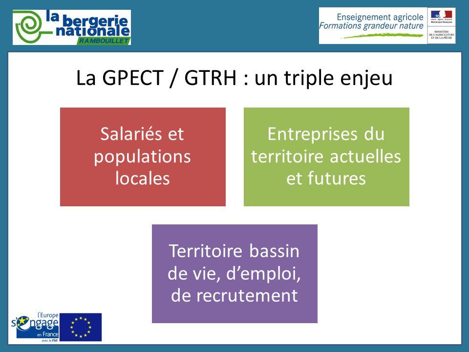 La GPECT / GTRH : un triple enjeu Salariés et populations locales Entreprises du territoire actuelles et futures Territoire bassin de vie, demploi, de