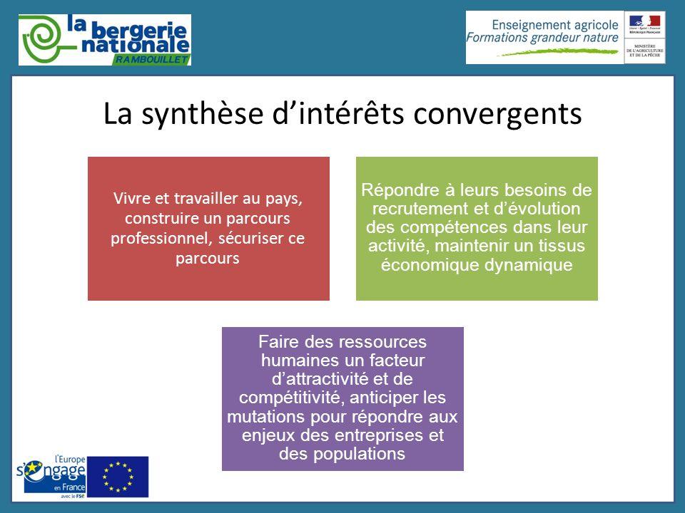 La synthèse dintérêts convergents Vivre et travailler au pays, construire un parcours professionnel, sécuriser ce parcours Répondre à leurs besoins de
