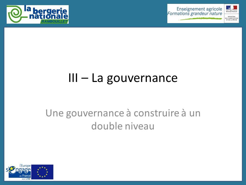 III – La gouvernance Une gouvernance à construire à un double niveau