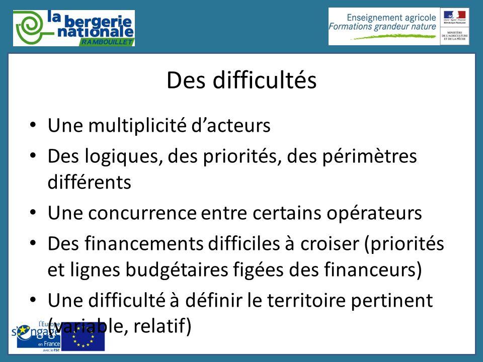 Des difficultés Une multiplicité dacteurs Des logiques, des priorités, des périmètres différents Une concurrence entre certains opérateurs Des finance